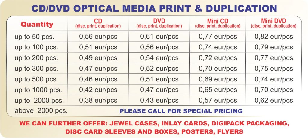 Promotions for optical media print.